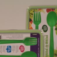 Rectangular Foodcontainer with cutleryset